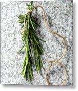 Green Fresh Rosemary On Granite Background Metal Print