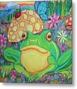 Green Frog With Flowers And Mushrooms Metal Print