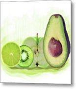 Green Fruits Watercolor Metal Print