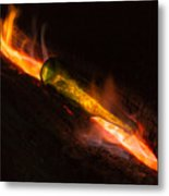 Green Glass Bottle And Campfire Metal Print