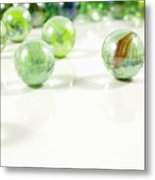 Green Glass Marbles Close-up Views Metal Print