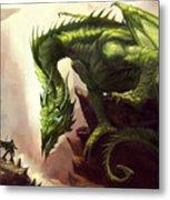 Green God Dragon Metal Print