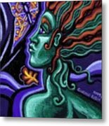 Green Goddess With Butterfly Metal Print