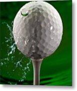 Green Golf Ball Splash Metal Print