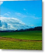 Green Grass And Blue Sky With White Clouds Metal Print