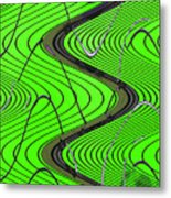 Green Grass Behind The Fence Metal Print