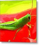 Green Grasshopper Metal Print
