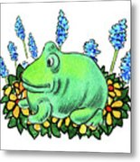Green Happy Frog Metal Print