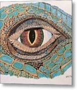 Green Iguana Eye Metal Print