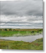 Green Landscape With Steamy River Metal Print