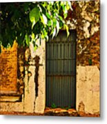 Green Leaves And Wall By Michael Fitzpatrick Metal Print