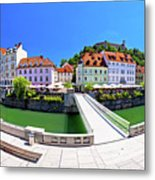 Green Ljubljana Riverfront Panoramic View Metal Print