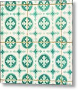 Green Lucky Charm Lisbon Tiles Metal Print
