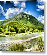 Green Mountain And Brook Metal Print