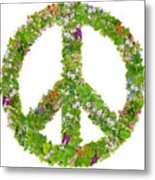Green Peace Symbol From  Spring Plants Metal Print