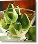 Green Pears In Glass Bowl Metal Print