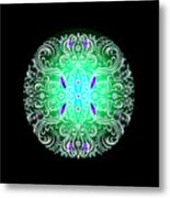 Green Piece Mandala Metal Print