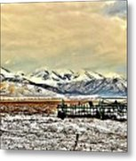 Green Plow On An Early Winter Morning Metal Print