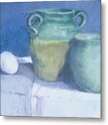 Green Pots Metal Print