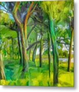 Green Shore Trees Metal Print