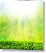 Green Spring Grass Against Natural Nature Blur Metal Print