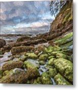 Green Stone Shore II Metal Print