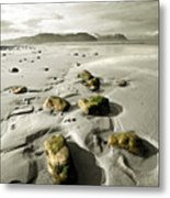 Green Stones On A North Wales Beach Metal Print