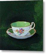 Green Teacup Metal Print