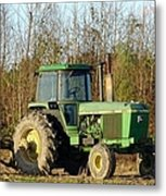 Green Tractor Metal Print