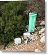 Green Trash Bag And Rubbish In Croatia Metal Print