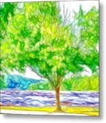 Green Trees By The Water 3 Metal Print