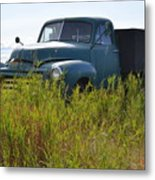 Green Truck In The Green Grass Metal Print