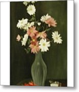 Green Vase With Flowers Metal Print
