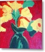 Green Vase With Flowers Metal Print