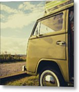 Green Vw T2 Camper Van 02 Metal Print