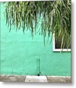 Green Wall With Leaves Metal Print