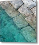 Green Water Blocks Metal Print
