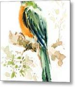 Green Wild Bird Metal Print