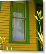 Green Window Metal Print