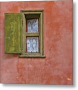 Green Window On A Red Wall Metal Print