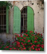 Green Windows And Red Geranium Flowers Metal Print by Yair Karelic