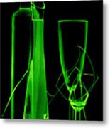 Green Wine Glasses And A Bottle Metal Print
