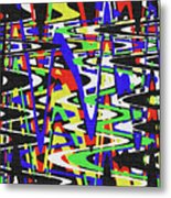 Green Yellow Blue Red Black And White Abstract Metal Print