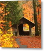 Greenfield Pumping Station Bridge Autumn Metal Print