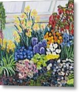 Greenhouse Flowers With Blue And Red Metal Print
