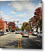 Greensboro Georgia Corner Of Main Street And Broad Street Fall Leaves Greensboro Georgia Art Metal Print