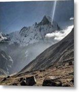 Greeting To Mountain By Sun Metal Print