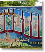 Greetings From Austin Capital Of Texas Postcard Mural Metal Print
