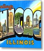 Greetings From Chicago Illinois Metal Print