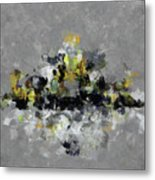 Grey And Yellow Abstract Cityscape Art Metal Print